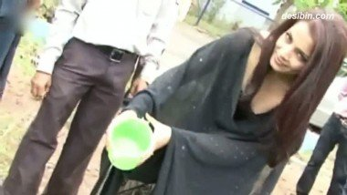 Cleavage Of Celina Jaitley While Planting