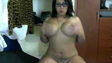 Cute aunty with big boobs plays with dildo