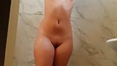 Sexy wife bathing nude in shower hot wet pussy boobs