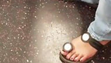 Candid indian teen girl feet sandals