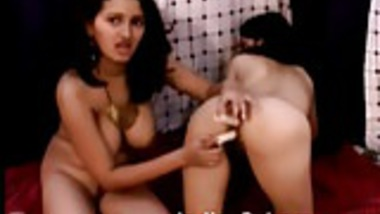 Indian Lustful lesbian cuties indulge in raunchy dildo sex