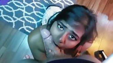 Indian girl giving a deep blowjob