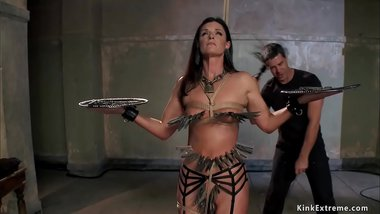 Clamped MILF slave is hard whipped
