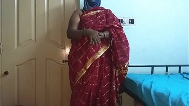 desi indian tamil telugu kannada malayalam hindi horny cheating wife vanitha wearing cherry red colour saree showing big boobs and shaved pussy press