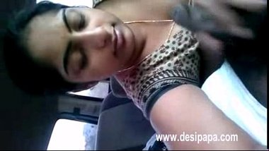 indian wife giving her hubby a blowjob in car while on picnic with friends