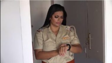 Busty indian lady police officer sex with theif