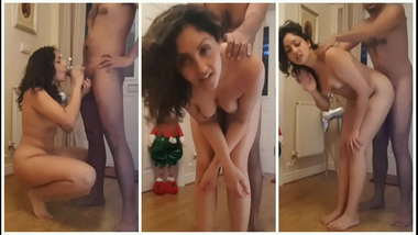 Young girl fucked hard in front of santa at Christmas POV Indian