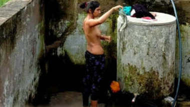 Cute Desi Girl Out Door bathing part 2