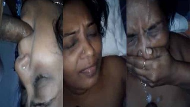 Indian wife cum facial for the first time