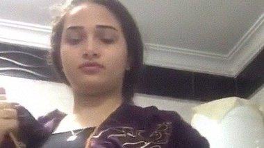 Cute Punjabi girl sucking her own boobs