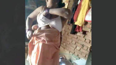 Desi Village Bhabhi Wearing Clothes While Hubby Recording