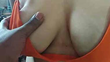Indian wife big boobs pressed