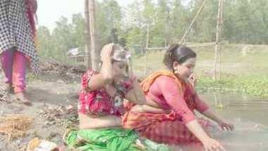 Desi village boudi bath