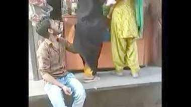 pk boy fun with eher bhabi in shop outdoor