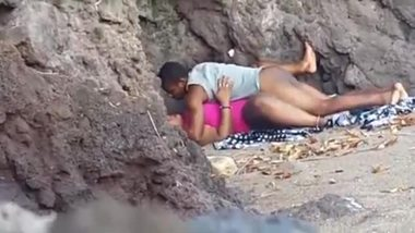 Indian blue film of a young couple enjoying outdoor sex on the beach