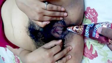 mallu girl ketki from mumbai helping boyfriend to insert cone icecream in pussy