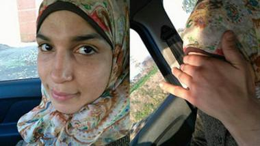 Arab hijab playing in car