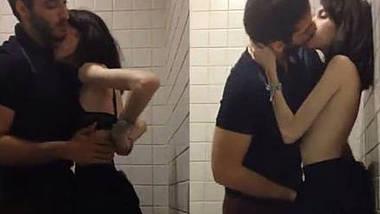 Cute Marina Fraga fucking by her boyfriend in public toilet