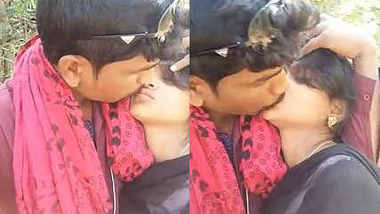 Indian Lover Kissing Outdoor