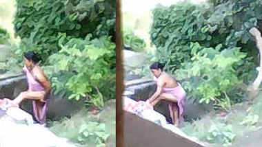Desi boudi outdoor bath