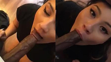 Sexy white milf gives deep blowjob