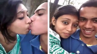 Hot Desi College Girl Kissing At Park