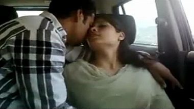 Desi Indian wife gives blowjob to husband's friend in car