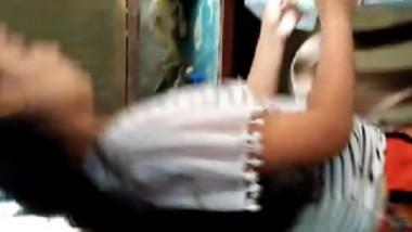 Desi cute girl show her boob in kitchen