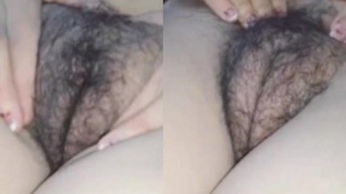 Bhabi playing With Her Hairy Fluffy Pussy