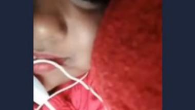 Cute girl show her big boob video call