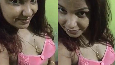 During sex video Desi sweetheart shows big boobs and rubs XXX twat