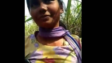 Desi beautiful girl in field with her lover romance