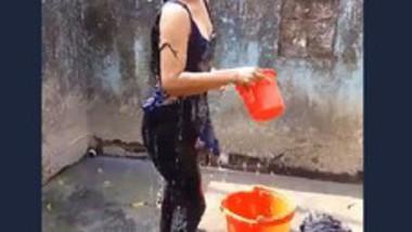 Desi Cute Girl Outdoor Bath