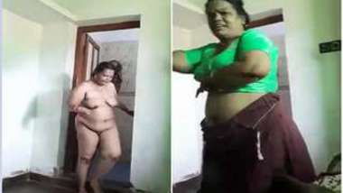 Man films loved fat Indian woman walking around with naked XXX titties