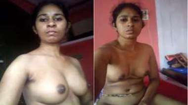 Serious Indian babe takes XXX boobs to light pacing around the flat