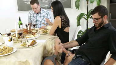 Very Hot Thanksgiving Dinner 3Some With Stepmom & Girlfriend - India Summer, Emma Hix