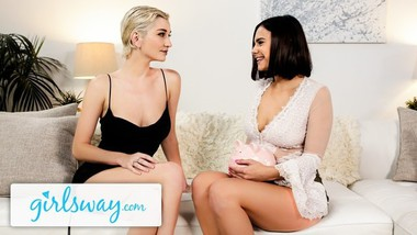 Girlsway Violet Starr Has Her Wife's Permission To Fuck Skye Blue