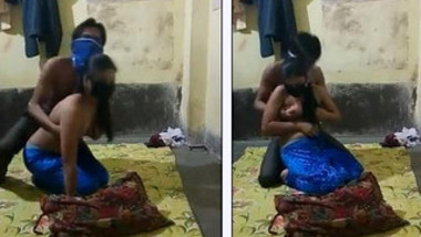 Half-naked young Indian woman allows man to come and touch XXX tits