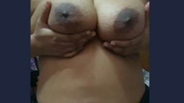 Booby wife pressing her boobs (semi)