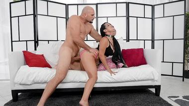 Black-haired porn star Katrina Jade nailed on sofa in XXX doggystyle