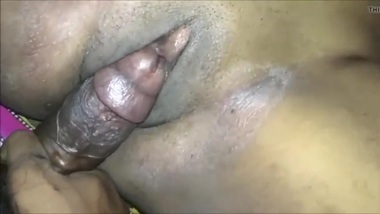 Desi rubbing clit with his cock Close Up
