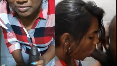 Naughty office girl gives blowjob to her colleague