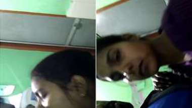 Man kisses his modest girlfriend in India filming them on XXX camera