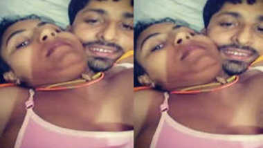 Indian uncovers her full XXX tits for sex partner who touches them