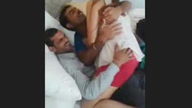 3 friends enjoying randi ,pressing boobs and ass in hotel